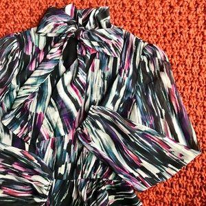 Betsey Johnson Purple Brushstroke Pussybow Dress
